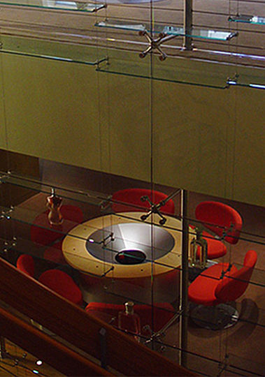 The conference room on the lower level features a special round table that displays holographic images of upcoming products.