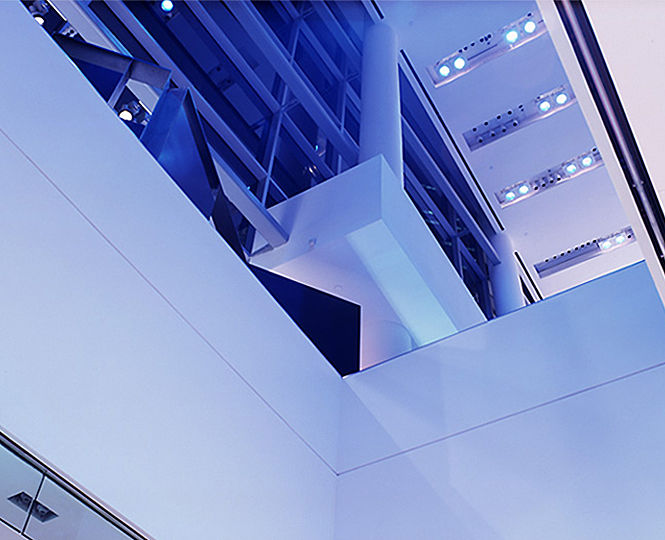 The 45-foot high glass atrium is the store's main entrance and primary retail area, as well as a space for special events and after-hours parties.