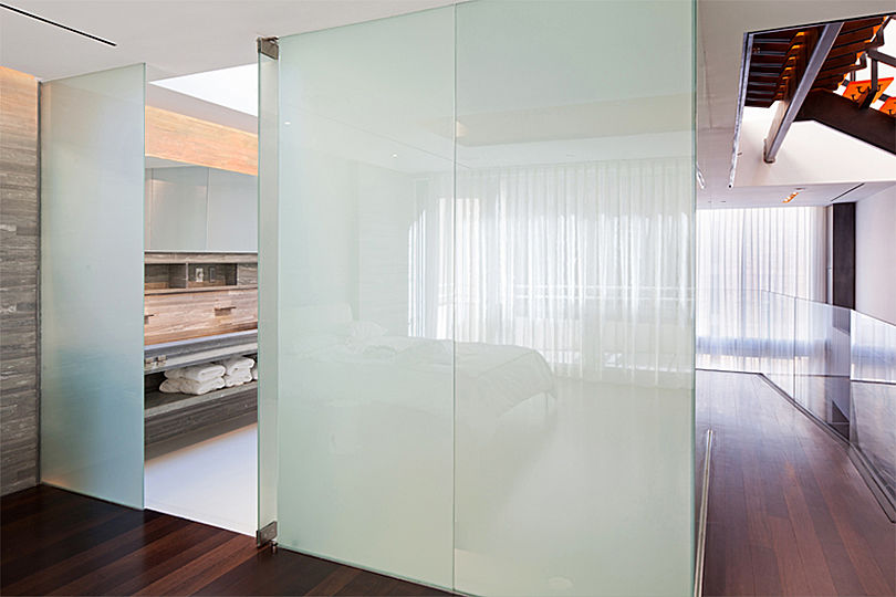 When the inner LCD layer of glass panel is deactivated, the glass is opaque.