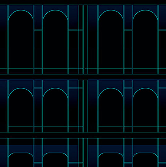 "The proposed, rather low-tech solution for exterior lighting is aimed to reveal the presence of the original Tiffany's building at night. Dark blue cold-cathode tubes are mounted under the new glass ""skin"" of the building, at the top of each floor, above the cast iron arches, facing the exterior. The tubes are fully concealed from view on both, interior and exterior sides by two precisely positioned baffles. The baffles also limit the way the direct light of the tube reaches the arches, and help to re-distribute the light evenly over the tops of the arches."